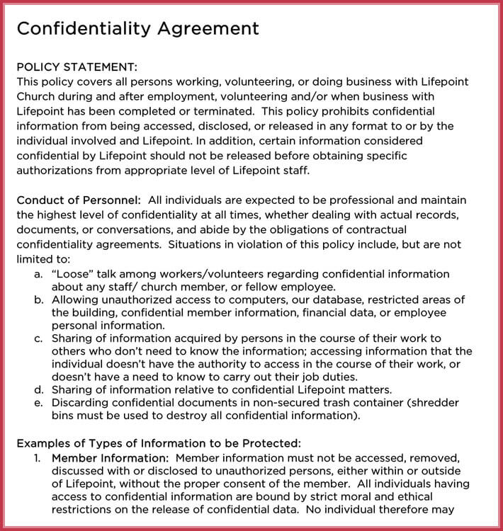 Church Confidentiality Agreement 10 Best Samples Form