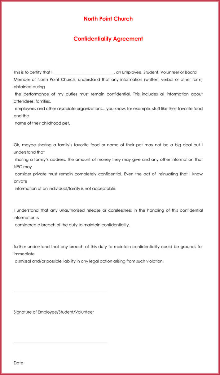 printable church confidentiality agreement