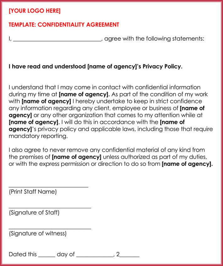 10 client confidentiality agreement templates forms. Black Bedroom Furniture Sets. Home Design Ideas