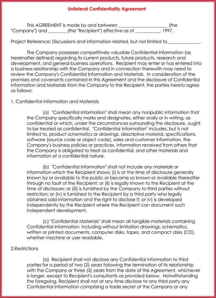 sample of disclosure confidential agreement