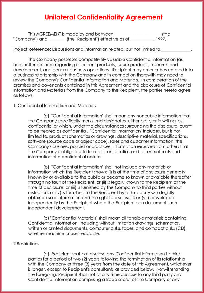 Unilateral Data Non Disclosure Agreement Format