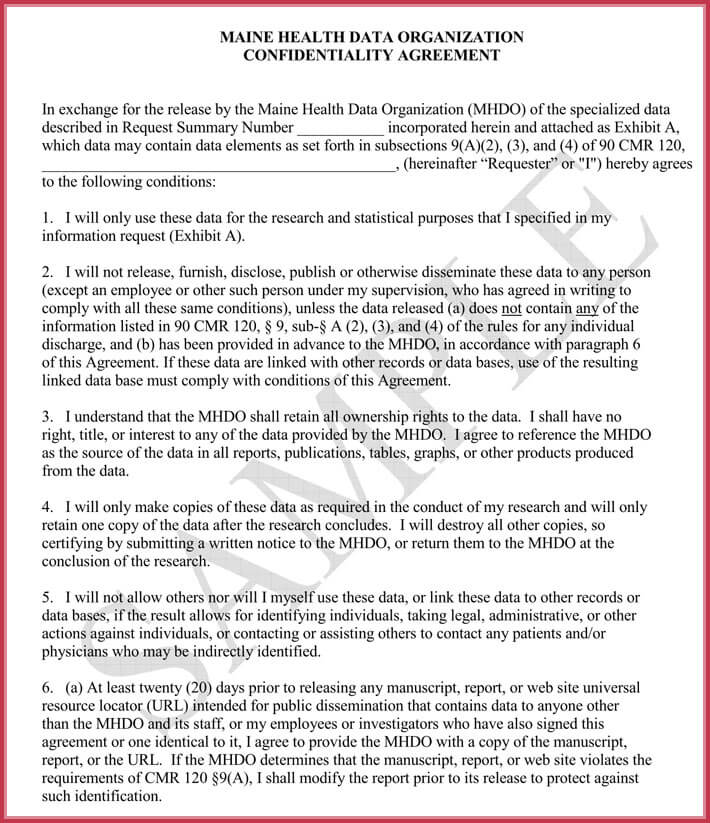 data confidentiality agreement sample