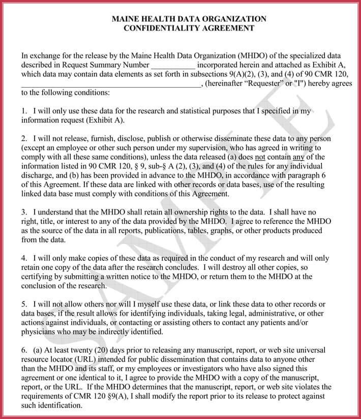 Data Confidentiality Agreement Sample Organization