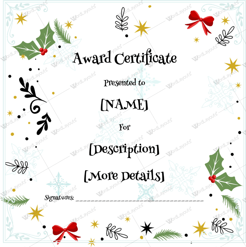 Christmas Themed Award Certificate Templates Download In