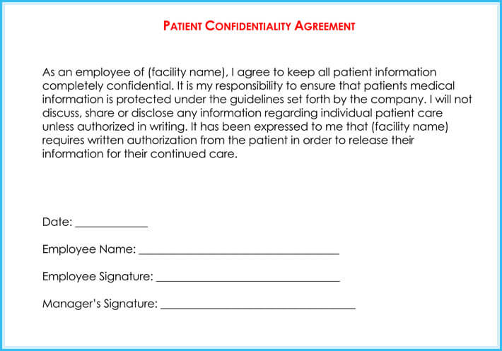 Best Medical  Patient Confidentiality Agreement Samples  Forms