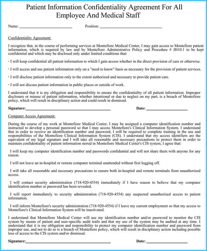 print free patient confidentiality agreement