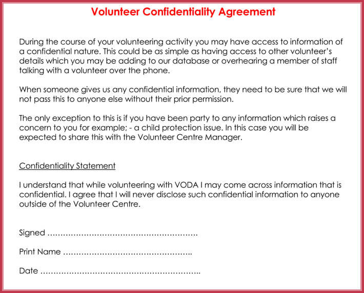 Volunteer Confidentiality Agreement Samples   Best Formats