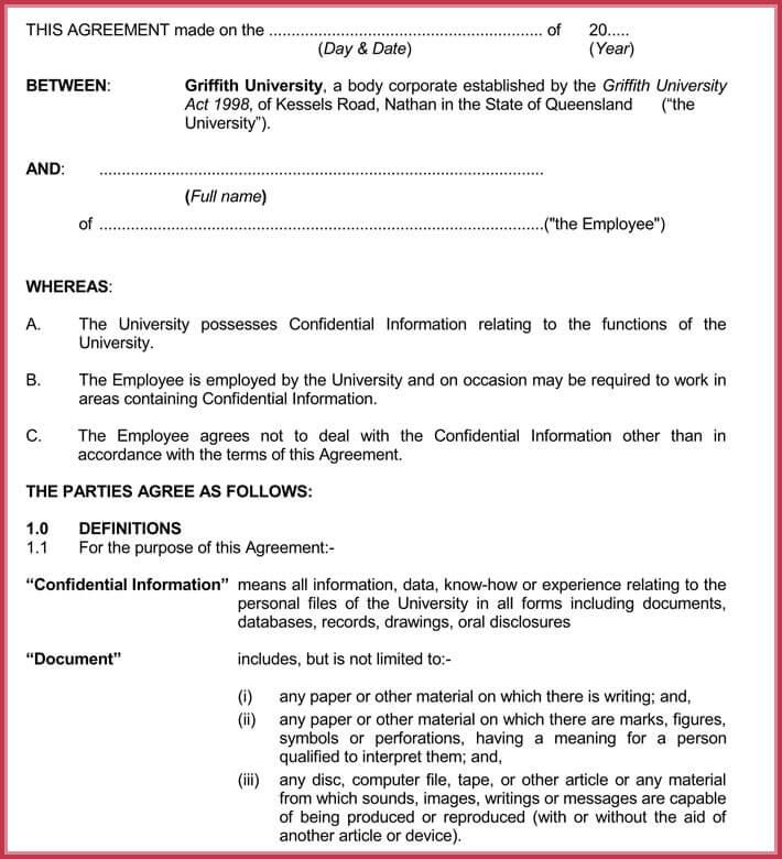employee agreement sample