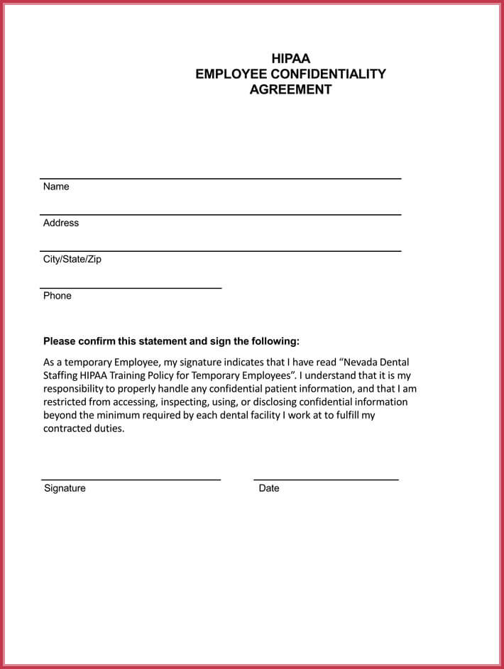free print employee confidentiality agreement