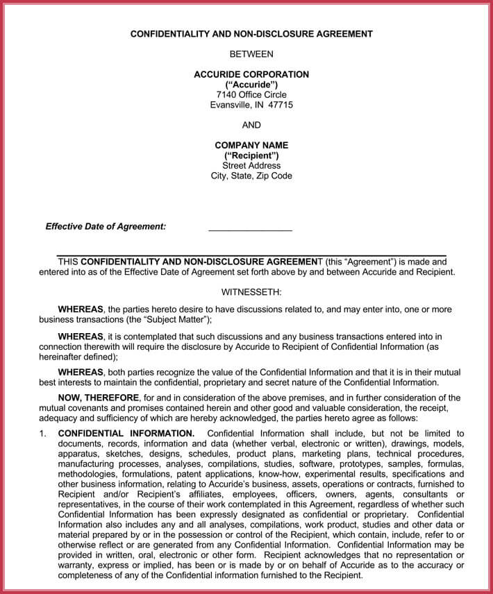editable employee confidentiality agreement
