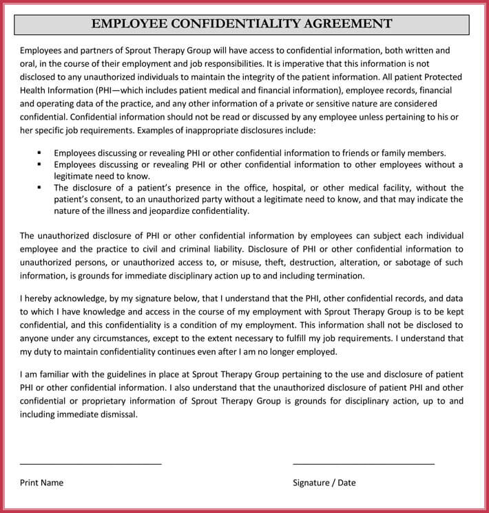 employee confidentiality agreement 7 best professional samples. Black Bedroom Furniture Sets. Home Design Ideas