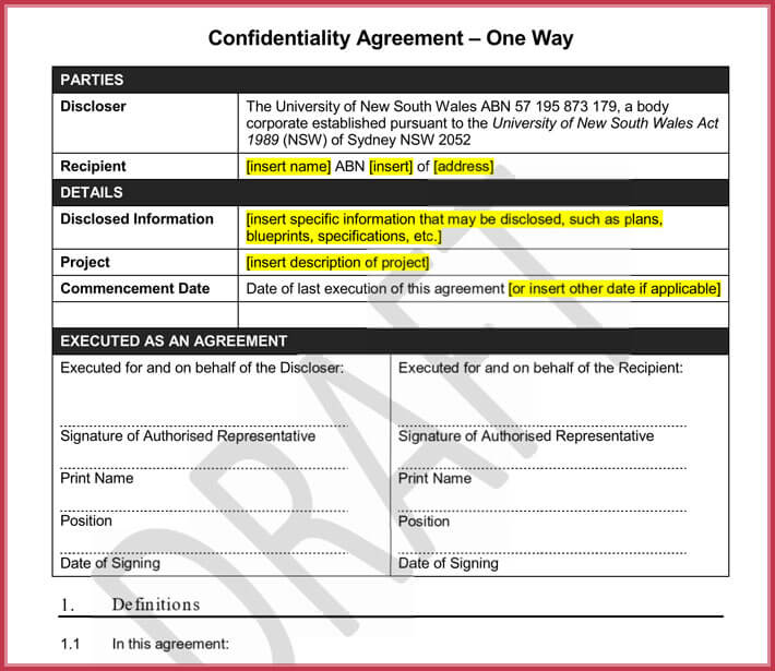 free generic confidentiality agreement