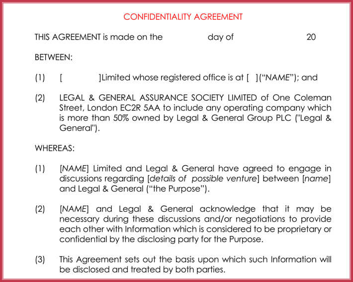 generic confidentiality agreement example