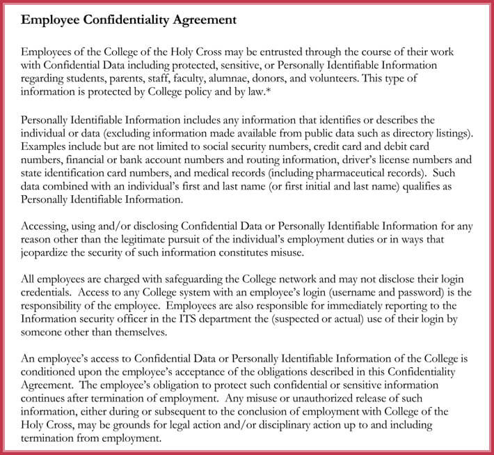 free human resources confidentiality agreement