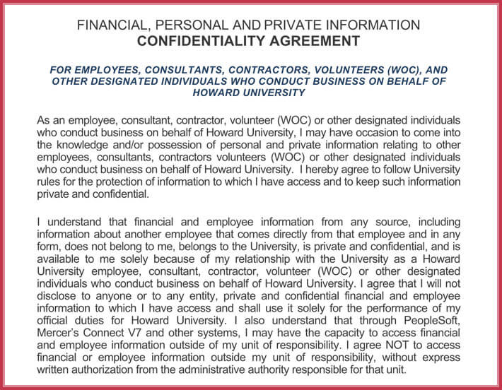 Company Human Resources Confidentiality Agreement