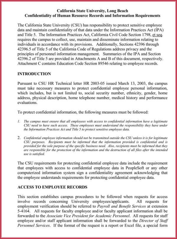 Hr confidentiality agreements