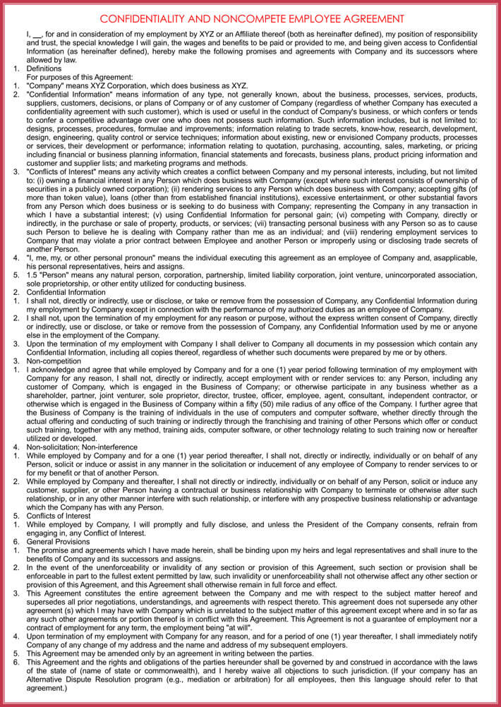 editable human resources confidentiality agreement