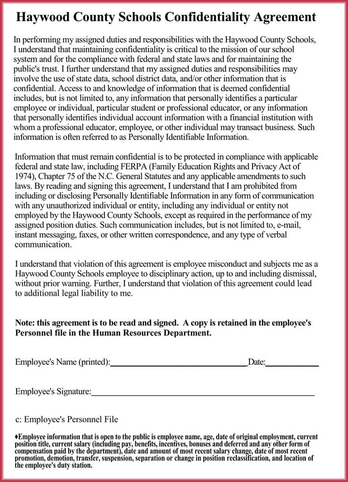 sample of human resources confidentiality