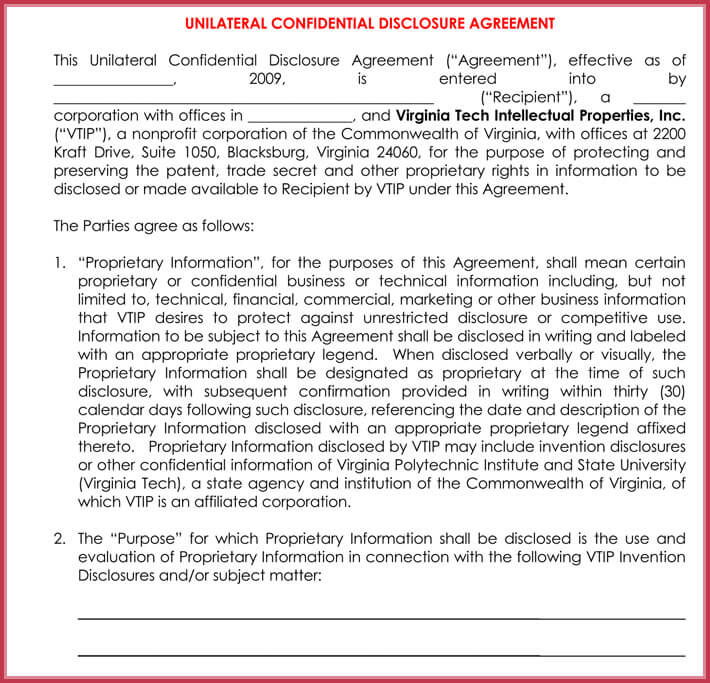 free mutual confidentiality agreement