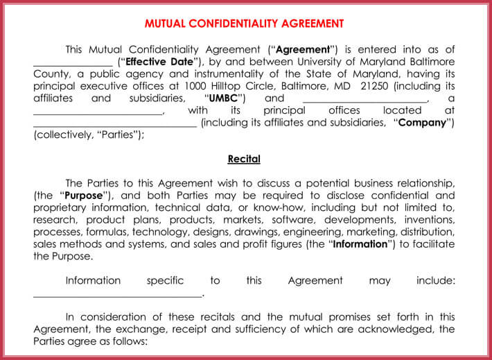 Mutual Confidentiality Agreement 5 Professional Templates Examples
