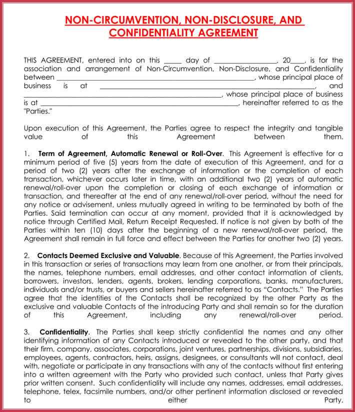 Non disclosure agreement confidentiality samples free for Non circumvention non disclosure agreement template