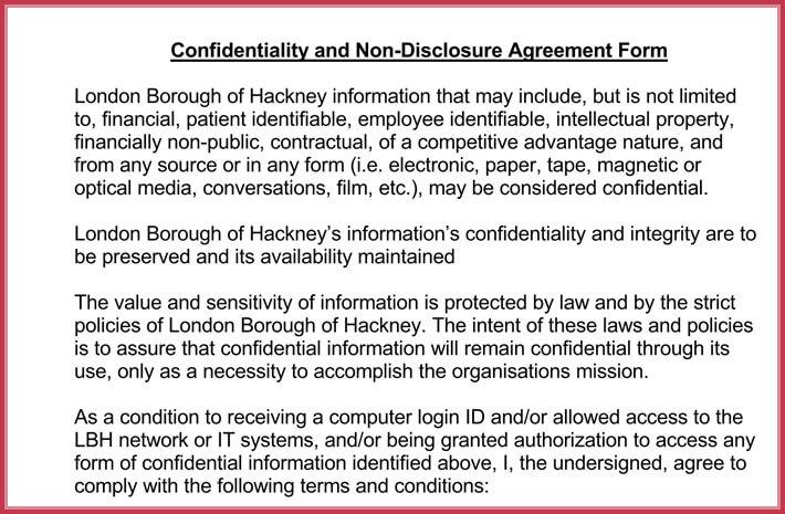 free print non-disclosure confidential agreement