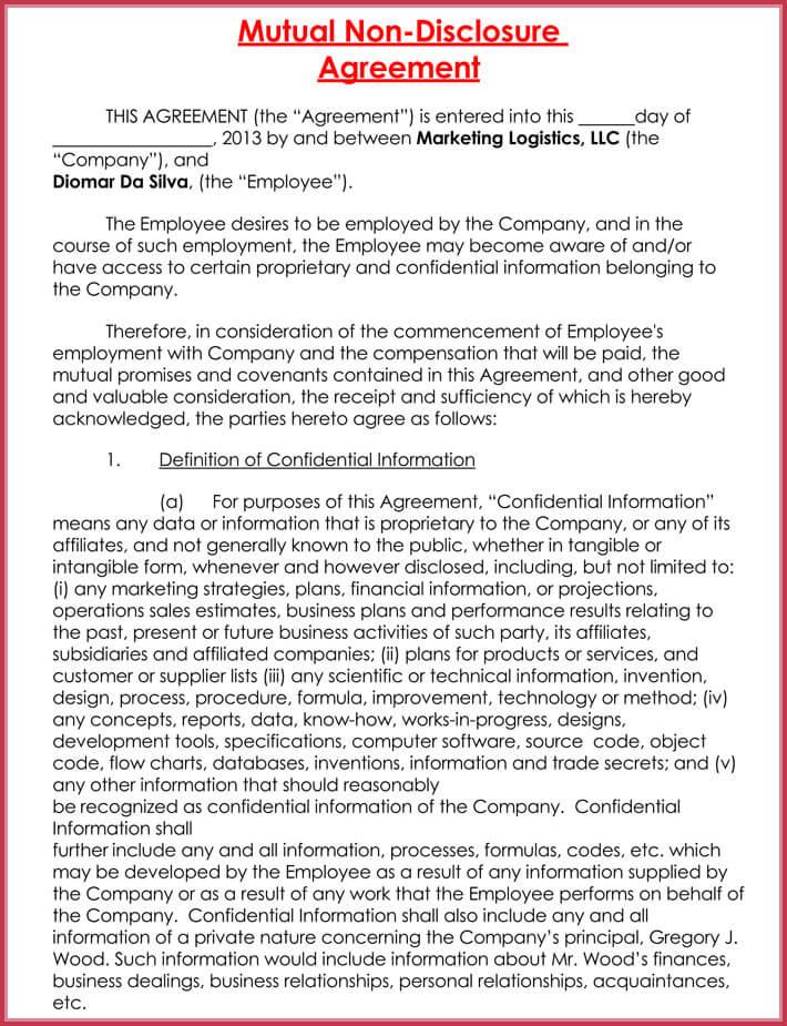 free printable non-disclosure agreement