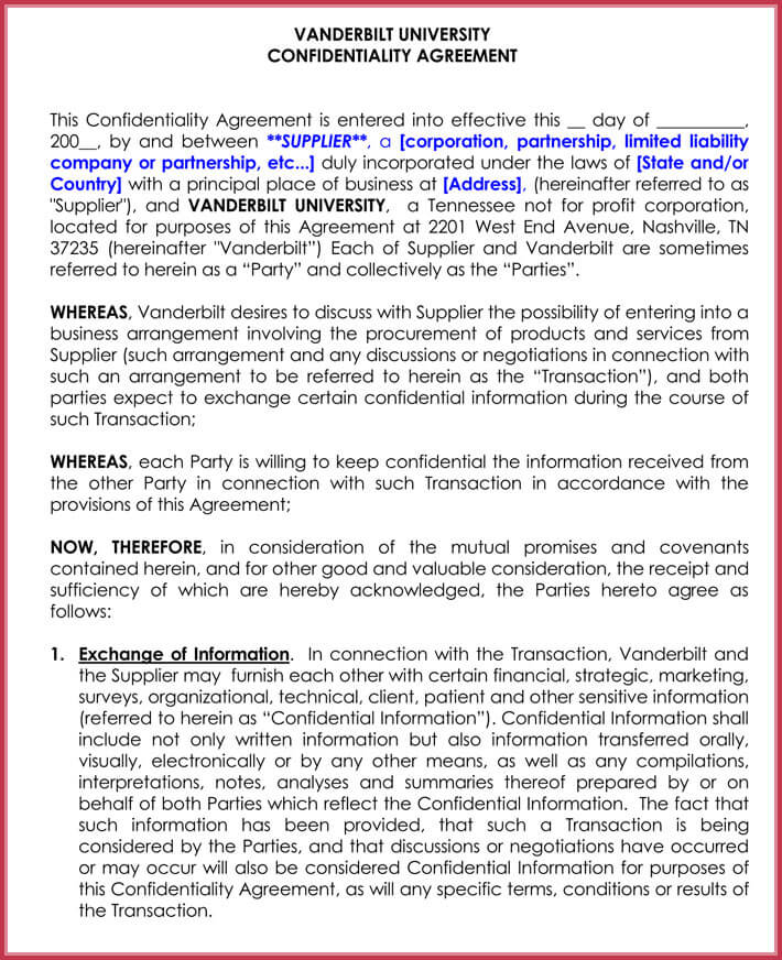SupplierVendor Confidentiality Agreement  Best Samples In Word Docx