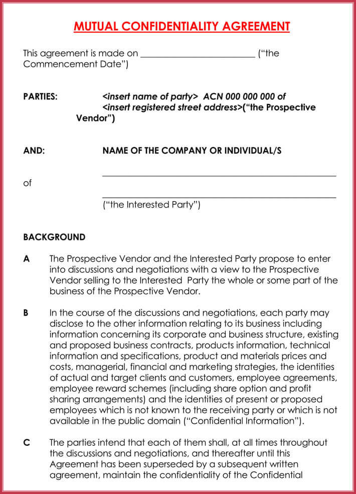 Mutual Legal Confidentiality Agreement Format