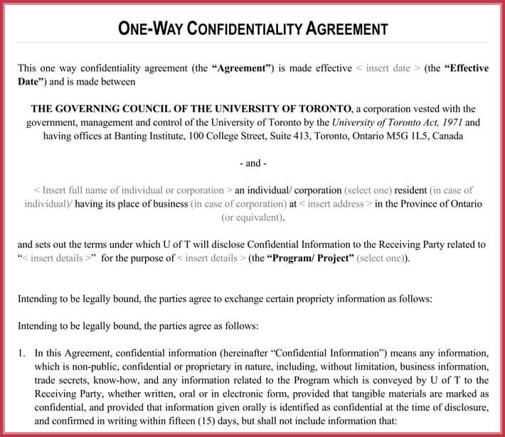 Sample Of One Way Legal Confidentiality Agreement
