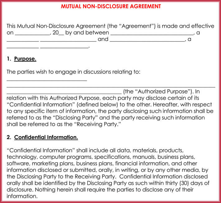 Legal Confidentiality Agreement Sample