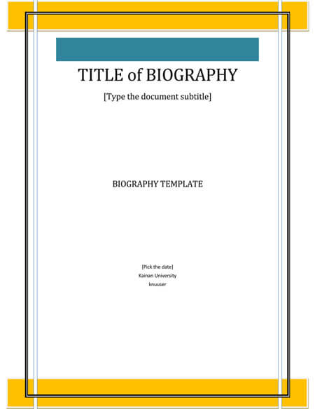 Personal Biography Template for Word