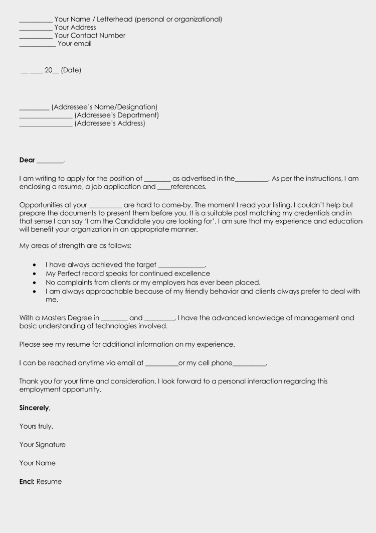 Blank Cover Letter Template (Word)