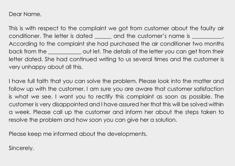Complaint follow-up letter Sample
