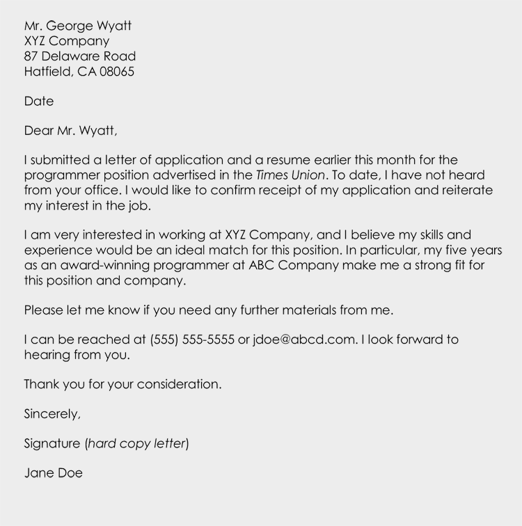 interview follow up letter how to write a follow up letter email its contents 11933 | Example Follow Up Letter on Job Interview