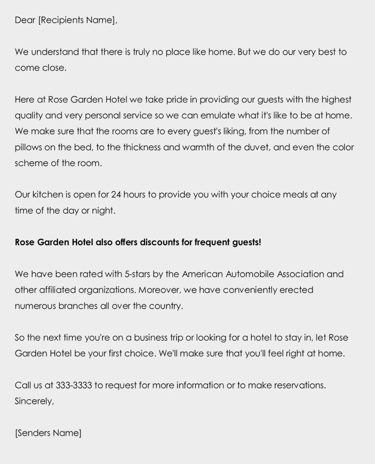 Sales Letter for Hotels