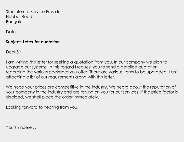 Business Letter for Quotation