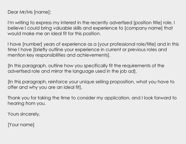 Sample Cover Letter In Response to an Advertisement