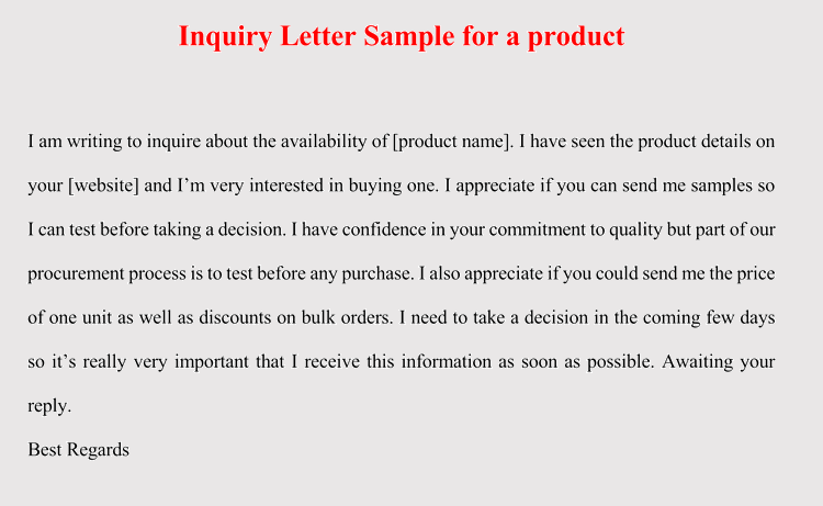 How to format an inquiry letter for product service 5 samples editable inquiry letter for product thecheapjerseys Images