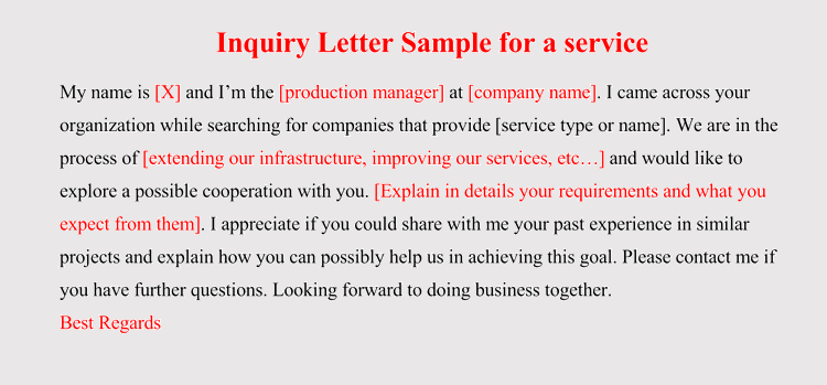 How to format an Inquiry Letter for Product Service 5 Samples