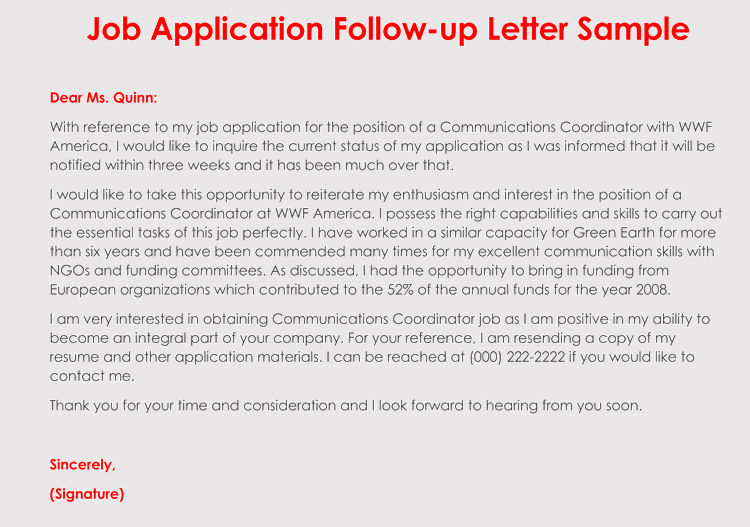 editable job application follow up letter