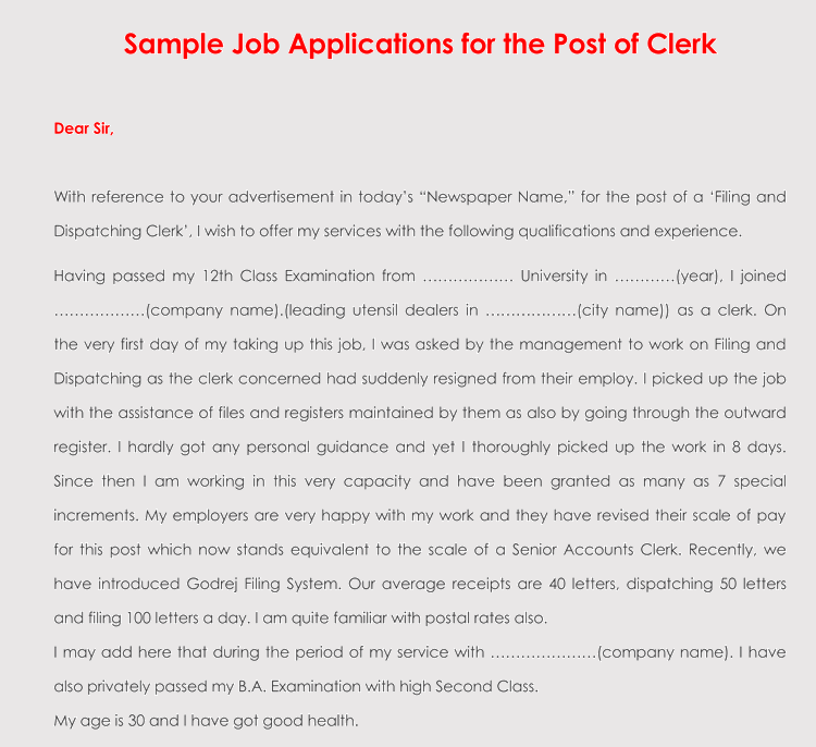 Clerk Job Application Follow Up Letter Sample  Follow Up Letter Sample
