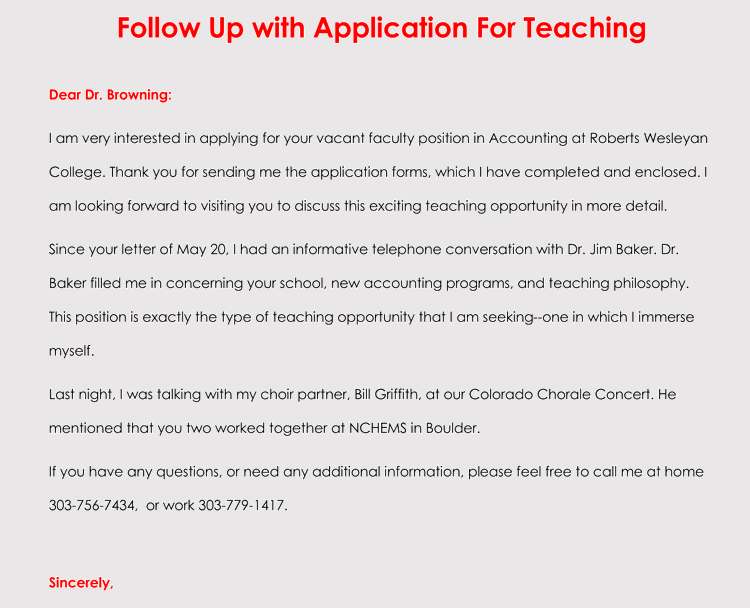 Job-Application-Follow-Up-Letter-3 Sample Application Letter Teaching Position Doc on college scholarship, for school board, for housekeeping, high school, any position, for transfer, teaching position,
