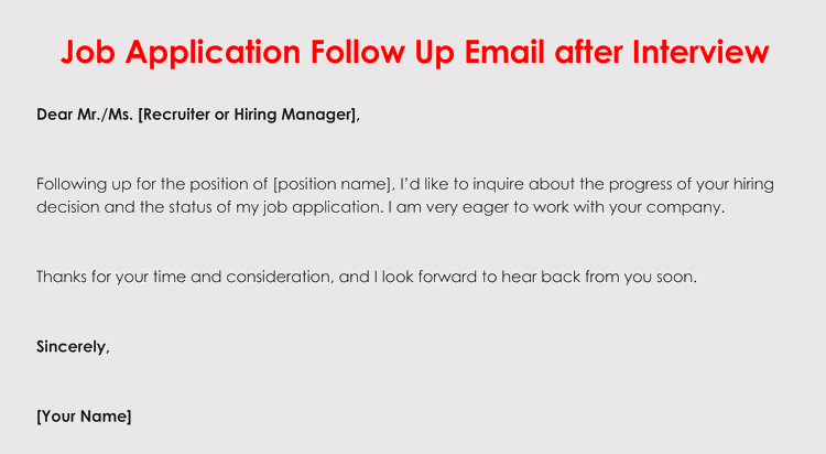 How to format a follow up letter for your job application edit free job application follow up letter spiritdancerdesigns Gallery