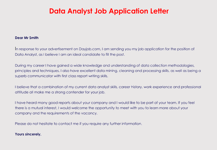 Data Analyst Job Application Email Format