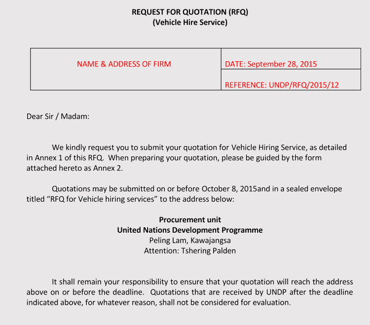 vehicle quotation request letter sample