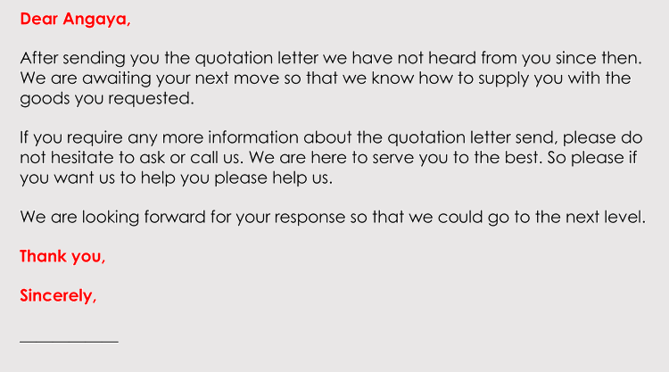 Printable Follow Up after a Quote Email