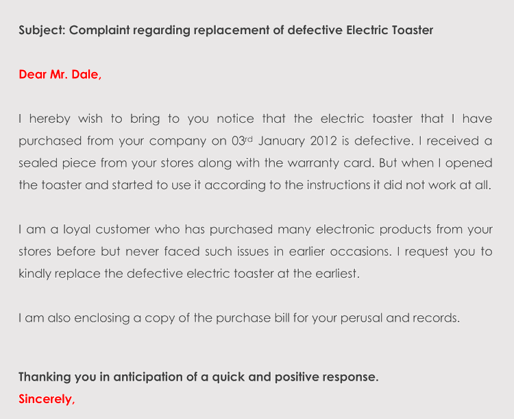 Complaint Letter Example For Bad Product