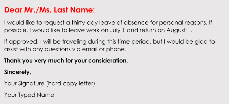 how to write a leave of absence request letter  with examples