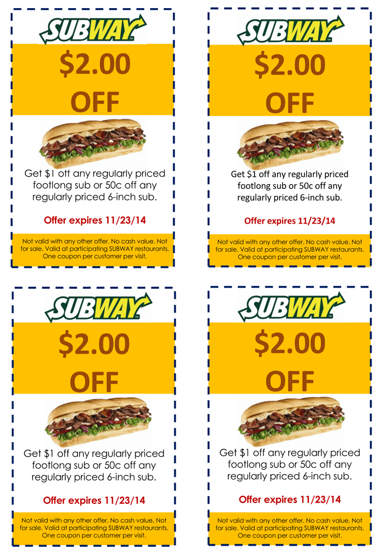subway gift coupon example